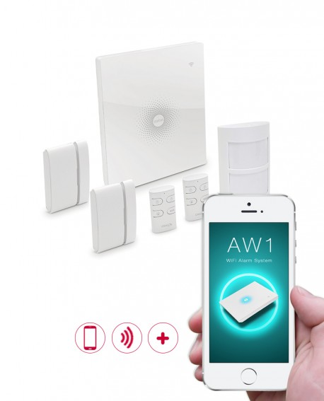 Wireless alarm system with mobile app.