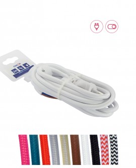 Solid fabric cables with plug and switch (2m)